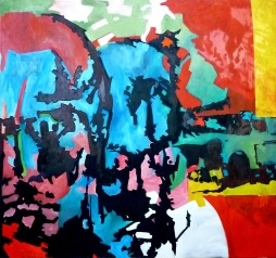 Choque del inconsciente nostalgico; oleo sobre tela; 150cm x 150cm